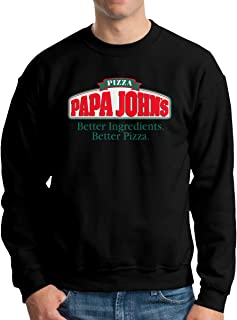 Mens Classic PAPA John's Logo Sweater Long Sleeve Jumper Sweat Baseball Jacket for Men Black