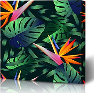 Ahawoso Canvas Prints Wall Art Printing 16x16 Purple Pattern Tropical Flowers Jungle Leaves Bird Paradise Nature Blue Beach Botanical Abstract Painting Artwork Home Living Room Office Bedroom Dorm