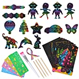 SunnyMemory Scratch Paper Art Set Crafts for Kids, 133pcs Rainbow Scratch Paper for Kids Arts and Crafts Supplies Kits for Children Girls Boys Birthday Game Party Favors Christmas Easter