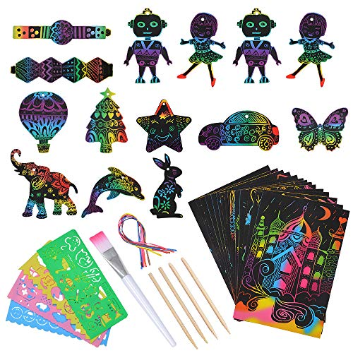SunnyMemory Scratch Paper Art Set Crafts for Kids, 133pcs Rainbow Scratch Paper for Kids Arts and...