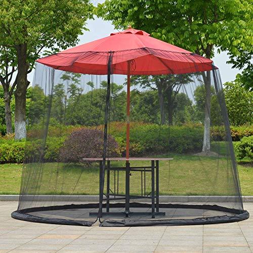 11ft Outdoor Garden Umbrella Table Screen Parasol Mosquito Net Cover Bug Netting Cover,Diameter 3.35m,Polyester,Single Door,Zipper Entrance