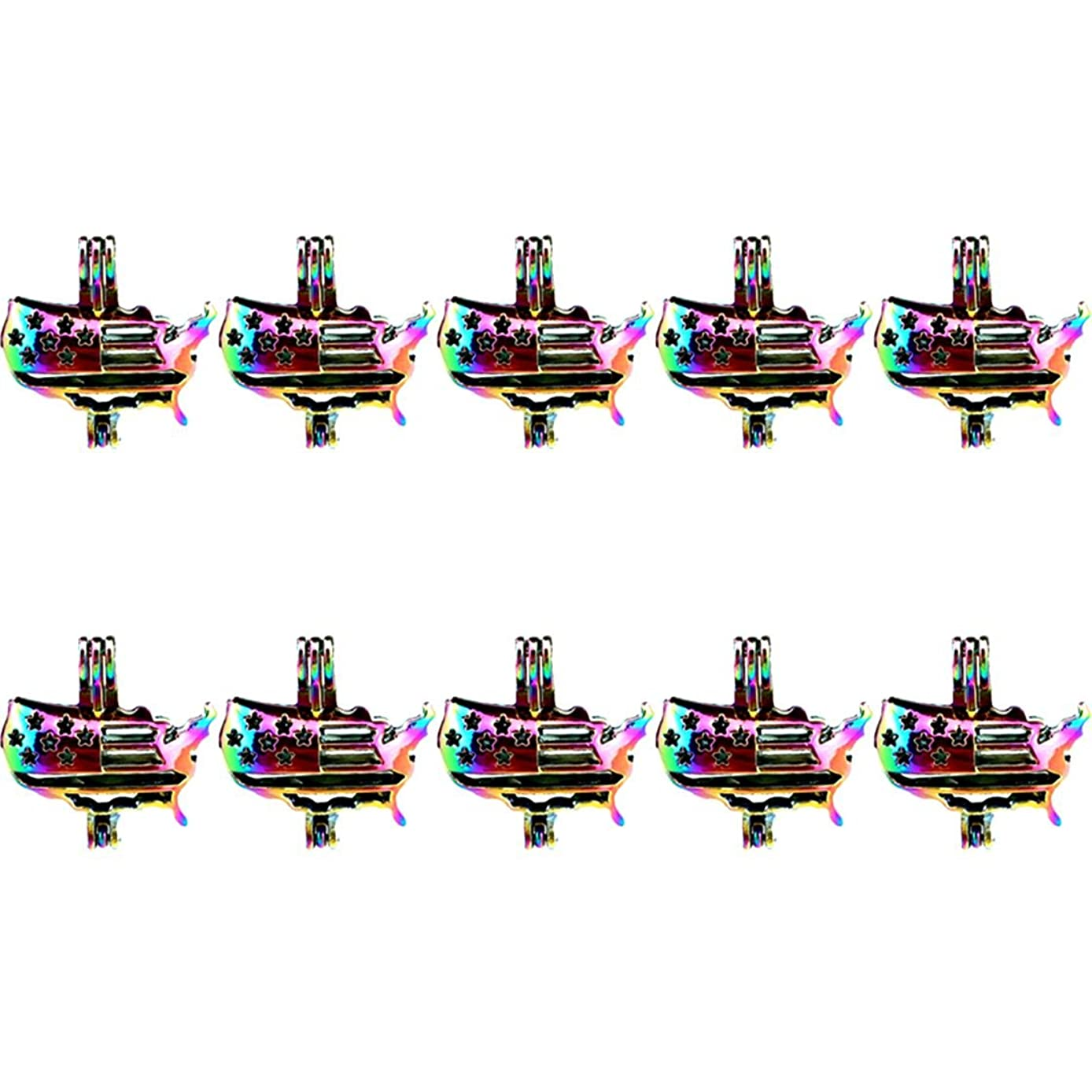 (10 Pack) Rainbow Color American Flag Beads Cage Locket Pendant Charms