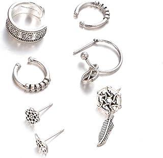 Bluelans 7PCS/set acchiappasogni foglia Ear Cuff orecchini donne vintage Jewelry Gift, Lega, Antique Silver, taglia unica
