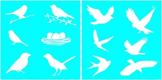 Auto Vynamics - STENCIL-BIRDSET01-10 - Detailed Flying & Perched Birds Stencil Set - Featuring Doves, Sparrows, Finches, Hawks, & More! - 10-by-10-inch Sheet - (2) Piece Kit - Pair of Sheets