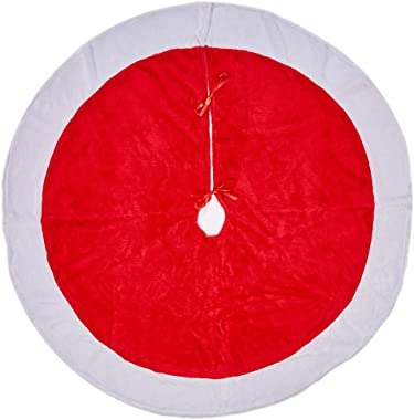Lalent Christmas Tree Skirt - 48 inches - Large Red and White Holiday Traditional Velvet Christmas Decorations for Home