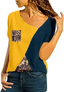 Frieed Women's Tops Plus Size Color Block Short Sleeve T-shirt Blouse with Pocket
