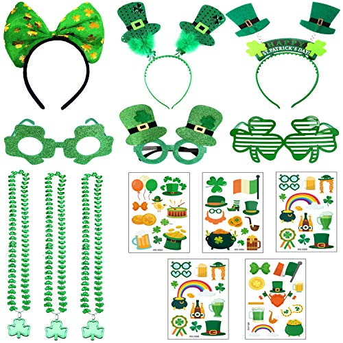 14 PCS St. Patricks Day Accessories Shamrock Temporary Tattoos, Headbands, Glasses, Necklaces for Festivals, Parades, and Irish Themed Party Favor Supplies Decorations
