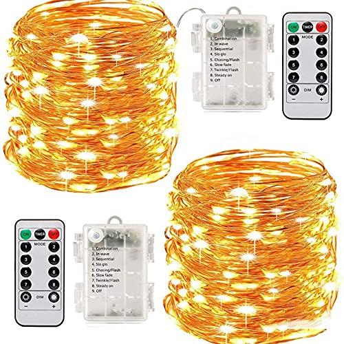 (dos juegos) 5 metros y 50 luces LED de alambre de cobre flexible, caja de batería impermeable, 8 funciones de control remoto, decoración de jardín luces de Navidad (color)