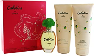 Cabotine De Gres By Parfums Gres For Women. Gift Set ( Eau De Toilette Spray 3.4 Oz + Perfumed Body Lotion 6.76 Oz + Bath & Shower Gel 6.76 Oz ).
