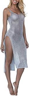 AMAZLA Women's Bathing Suit Cover Up Summer Beach Bikini Swimsuit Short Sleeve See Through Sheer Mesh Cover Dress V-Neck
