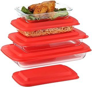 Doonmi- 4 Pack Classic Glass Baking Dish with Red Lid(1 Quart,1.6 Quart, 2.2 Quart and 3 Quart), Freezer-to-Oven Safe Baki...