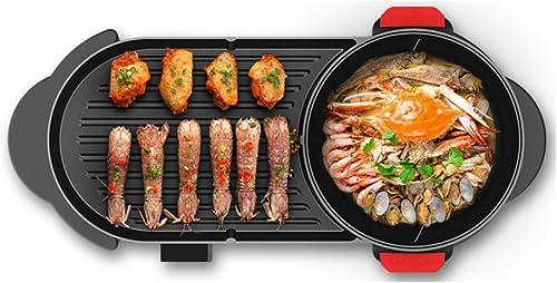 Huaishu Poêle électrique BBQ Antiadhésif sans Fumée avec Hot Pot 2 en 1 2-12 Personnes