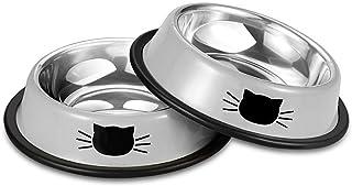 کاسه توله سگ توله سگ توله سگ توله سگ با استیل ضد زنگ Comsmart با گربه های ناز نقاشی نشده برای حیوانات گربه های سگ های کوچک (2 بسته)
