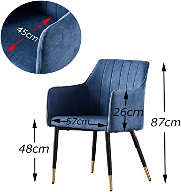 D2UF AINPECCA 2X Blue Arm Chair Accent Chair Black Metal Legs+Brass Footing for Living Room Dining Room Commercial Places