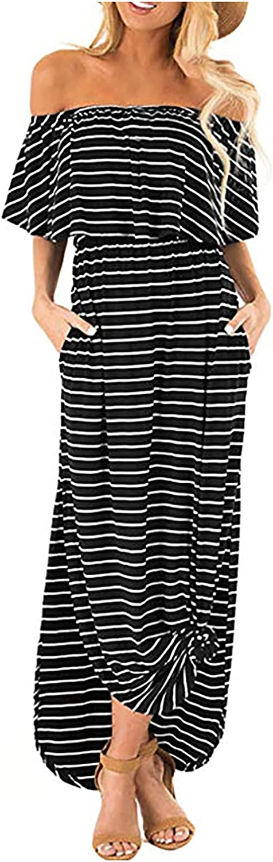 Sun Dresses Women Summer Woman's One Shoulder Stripe Printing Sexy Skirt Off-The-Shoulder Long Dress Womens Dresses