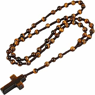 TUMBEELLUWA Cross Pendant Beaded Necklace for Men Women, Catholic Rosary Hand Knotted Necklace