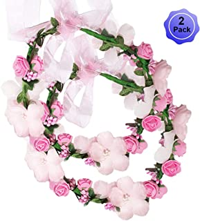 d4b558b29ba Flower Crown Headband Wreath Garland Hair Bands Floral Wedding Bridal Hair  Hoop Women Leaf Ribbon Party