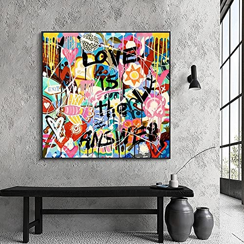 Licnay Diamond Painting Completo Kit Diamante Pintura Bordado de Punto de Cruz DIY 5D para decoración de Arte Pared del hogar Graffiti De Cartas De Amor De Color,Diamante Redondo,100x100cm