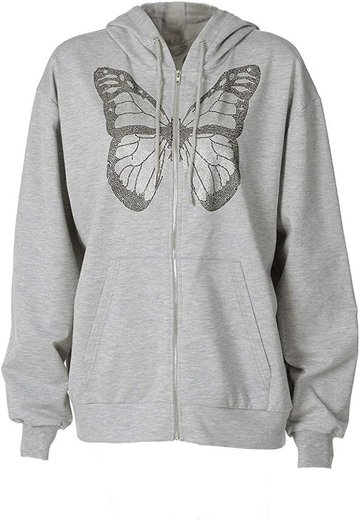 JJAI Women Sweatshirt Oversized Y2K Butterfly Graphic Rhinestone Zip Up Hoodies E-Girl 90s Grey Diamond Streetwear Jacket