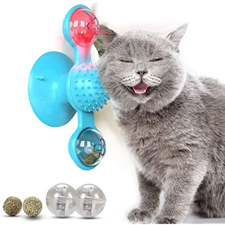 Rekergus Windmill Cat Toys for Indoor Cats, Interactive Chew Toys with Catnip, Toothbrush Funny Kitten Toys Cats Hair Brush Turntable Massage Scratching Tickle Toy with Suction Cup(Blue)