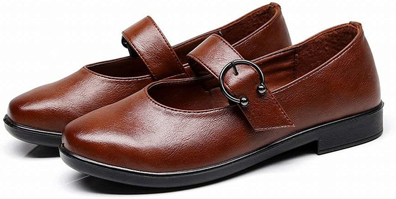Fuxitoggo Mamas Schuhe Arbeit Schuhe Low-Heels Hotel Schuhe Damenschuhe Peas Schuhe (Farbe   Braun, Gre   35)
