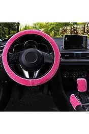 3 en 1 Soft Leopard Cubierta del volante del coche Manija del freno de mano Rocker Boot Covers 38 cm corto felpa c/álido invierno para todos los coches rojo