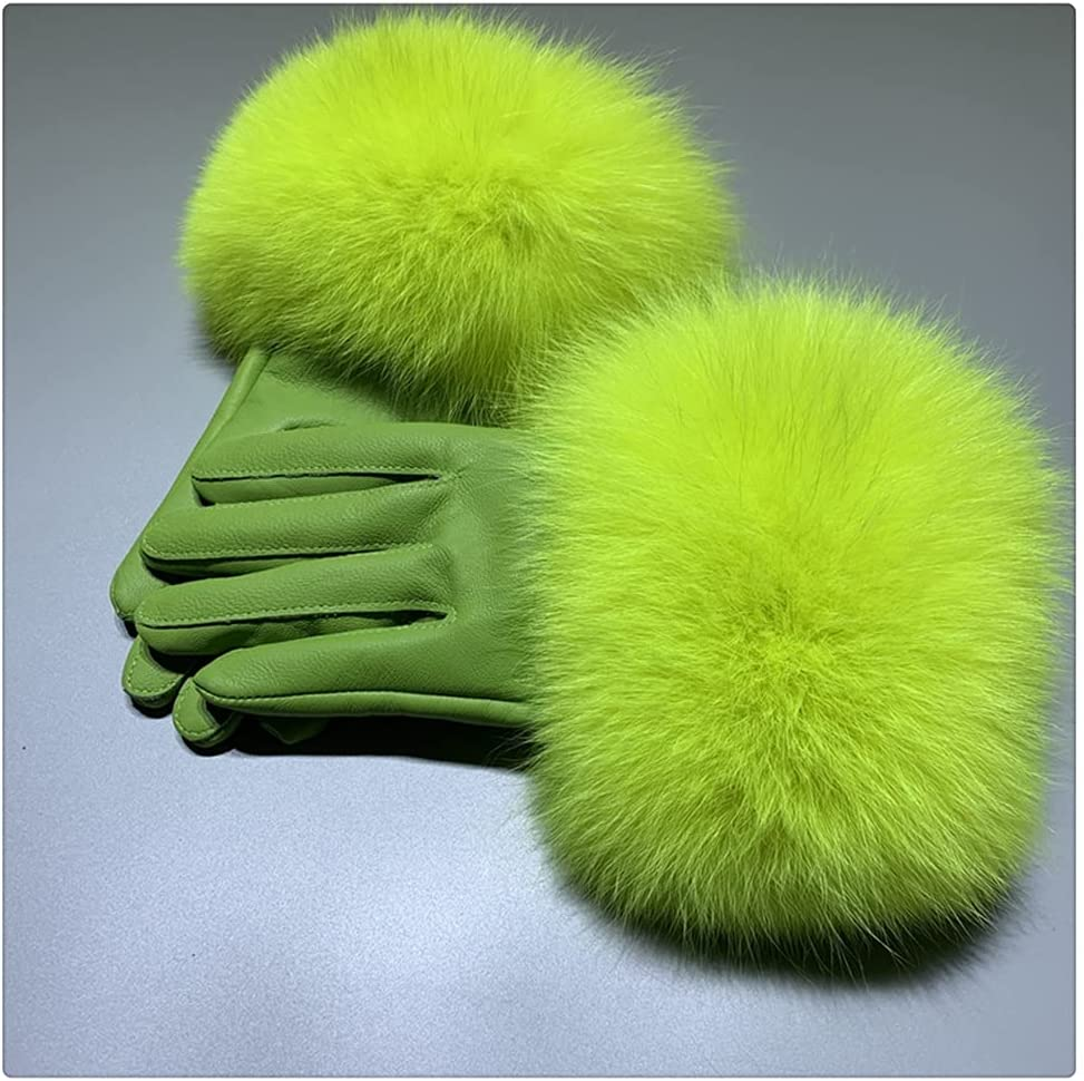 WBDL Fox Fur Gloves Winter Female Style Warm Sheepskin Leather Gloves Driving Thickening Mitten