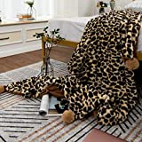 MYRU Super Soft Leopard Throw Blanket for Girls Gift Cozy Couch Blanket with Pom Poms (50 x 60 Inch,C)