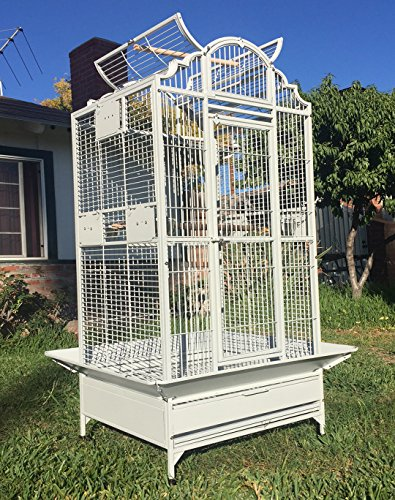 New Large Wrought Iron Open/Close Play Top Bird Parrot Cage, Include Metal Seed Guard Solid Metal Feeder Nest Doors