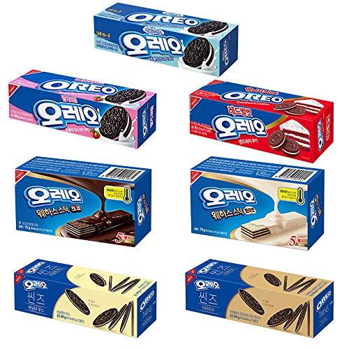 Oreo Variety Cookies, Thin, Wafer, and Sandwich Cracker, Chocolate, White, Vanilla, Strawberry, Mild Sweet, and Tiramisu, (Pack of 7)