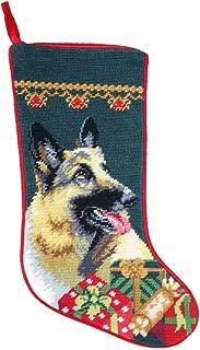 German Shepherd Christmas Stocking 100% Wool Hand-Stiched Needlpoint: Precious