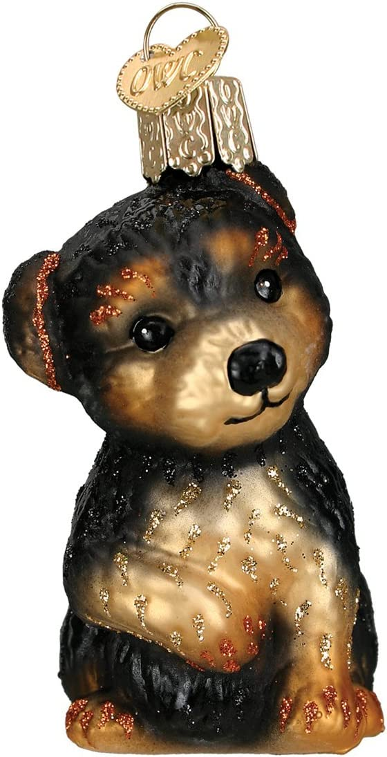 Old World Christmas Dog Collection Glass Blown Ornaments for Christmas Tree Yorkie Puppy