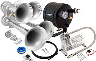 Vixen Horns Train Horn Kit for Trucks/Car/Semi. Complete Onboard System- 150psi Air Compressor, 0.5 Gallon Tank, 4 Trumpets. Super Loud dB. Fits Vehicles Like Pickup/Jeep/RV/SUV 12v VXO8705/4114
