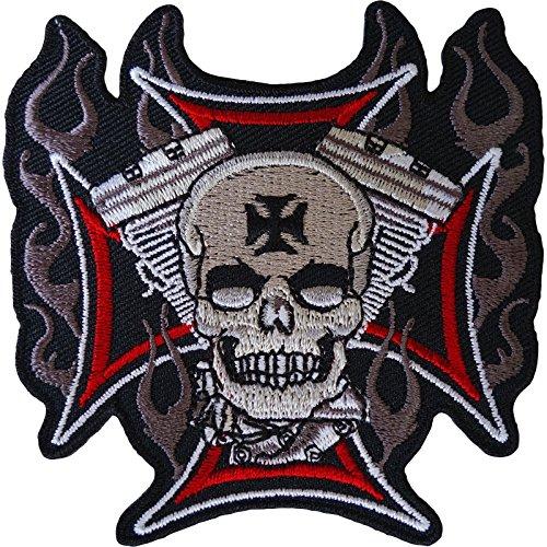 Aufnäher mit Totenkopf-Motiv, bestickt, zum Aufbügeln oder Aufnähen, für Motorrad, Biker