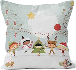 Nine City Happy Kids Xmas Party Costumes elf Snowman Throw Pillow Cover,HD Printing for Sofa Couch Car Bedroom Living Room D��cor,24
