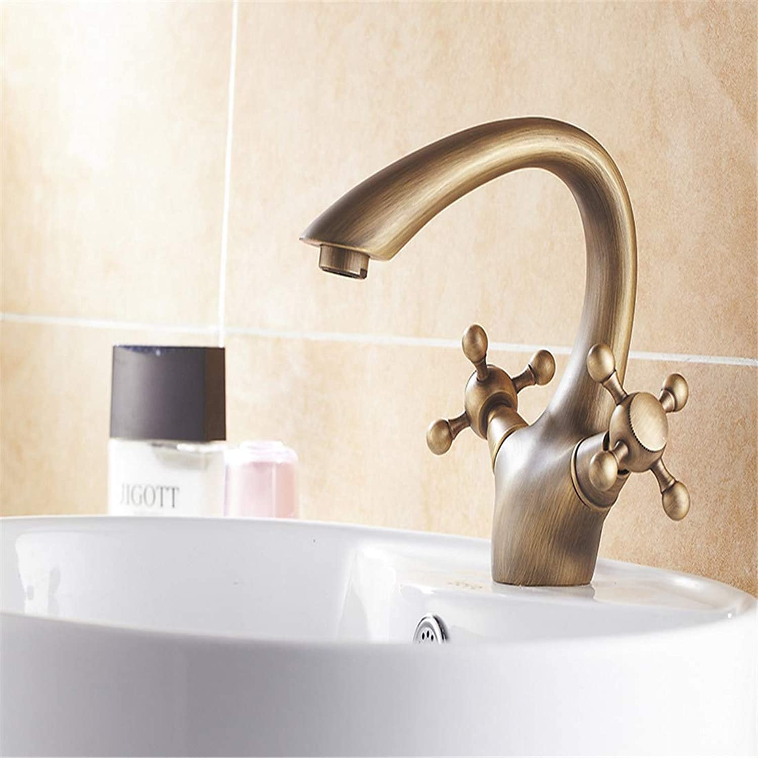 Retro Plated Hot and Cold Faucet Retroantique Bathroom Basin Faucet Brass Tap Toilet Water Faucet Hot Cold