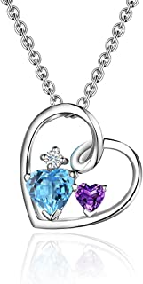 EL UNO Forever Love Heart Pendant Amethyst & Blue Topaz Pendant Necklace Birthstone Gifts for Women Heart Shape 925 Sterling Silver Pendant Necklace