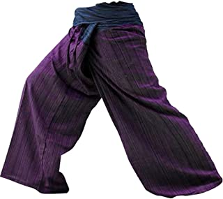 !! LovelyThaiMart 2 Tone Thai Fisherman Pants Yoga Trousers Free Size Cotton