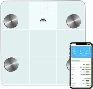 SENSSUN Bascula de Baño Digital Grasa Corporal,balanzas digitales bluetooth,analizador de composición corporal,Tamaño:30 * 30cm,con 13 Funciones,IMC/músculo/grasa corporal/masa ósea(blanca)