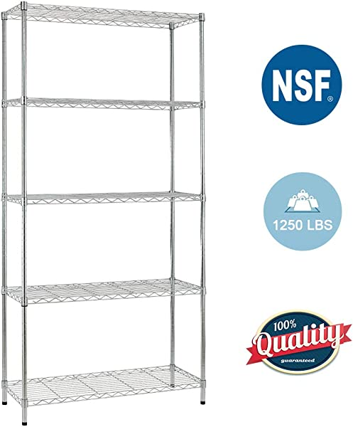 5 Shelf Wire Shelving Unit Garage Heavy Duty Height Adjustable Commercial Grade NSF Certification Utility Rolling Steel Layer Rack Organizer Kitchen