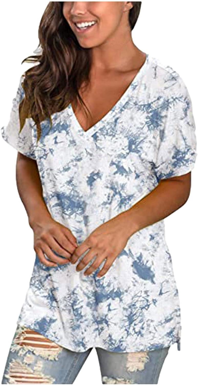 Womens Summer Tops Columbus Mall Casual V-Neck Tie-Dye Loose Omaha Mall Sweatshirt