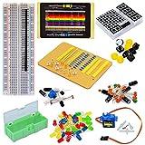Tolako - Kit de iniciación de componentes electrónicos para Arduino Breadboard, LED, Dot Matrix, Resistor, Condensador, panelería