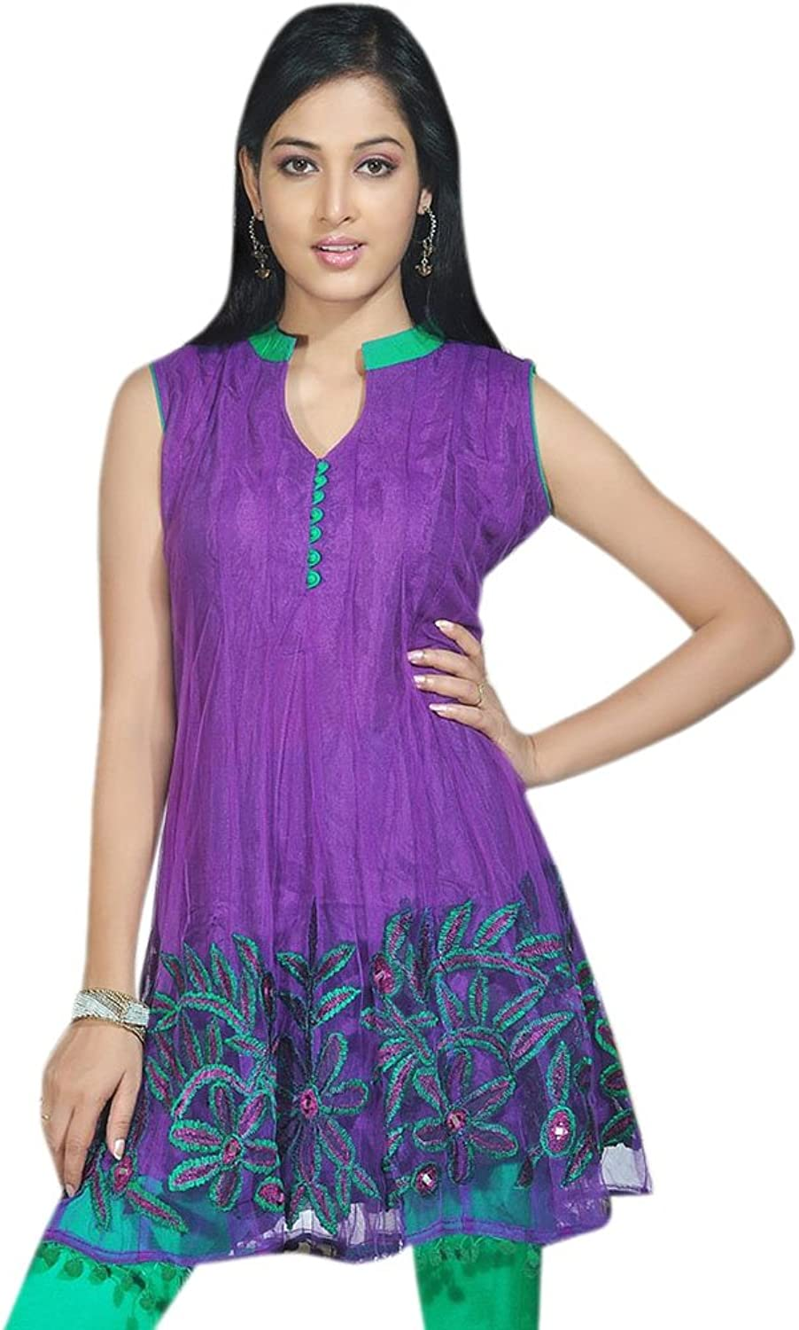 1545 Designs Women's Ladies purple color Hem Embroidered Top