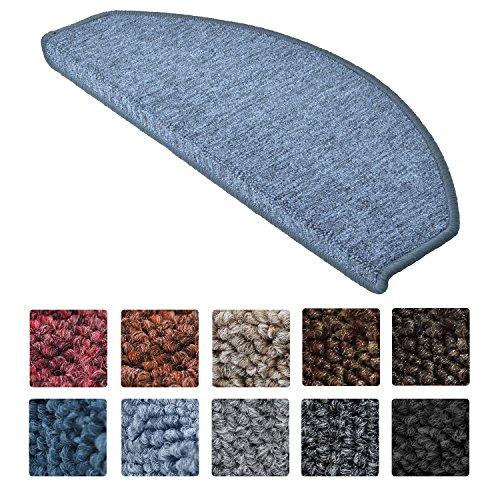 Beautissu XXL Treppenstufen Matten ProStair 15er Stufenmatten Set - 65x28cm Treppenmatten antirutsch Teppich Treppenstufen selbstklebend Treppenschoner Grau-Blau