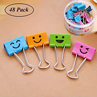 Medium Metal Paper Clips Assorted Coideal 48 Pack Colored Binder Clips with Cute Lovely Hollow Smiling Face/Multi Color Photo File Paper Document Clip Clamp Organizer for Office Home (25mm)