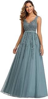 Ever-Pretty Vestito Lungo da Cerimonia Sera Donna Scollo a V Tulle con Appliques Eleganti 07723