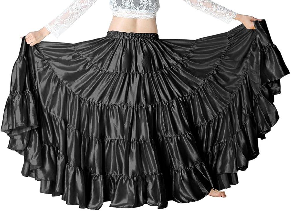 Emerald Green Cotton 4 Tiered 6 Yard Skirt Maxi Belly Dance Gypsy Flamenco Trib