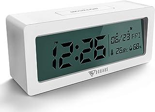 DOQAUS Reloj Despertador Digital , Despertadores Digitales con Temperatura humedad y fecha, retroiluminación Pantalla LCD grande, 12/24 horas de Radio Despertador (Blanco)