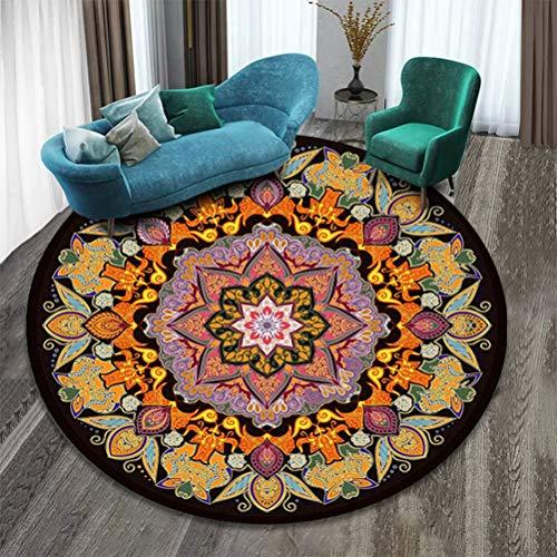 TBBA Alfombra Diseño De Mandala, Estilo Vintage Alfombra Redonda De Algodón, Multicolor, Lavable para Salón, Dormitorio, Baño, Cocina, Decoración De Playa,K,120 * 120cm
