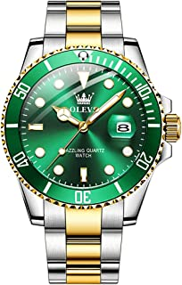 OLEVS Luxury Analogue Men's Watch(Green-Gold Dial & Silver & Gold Colored Strap)-ol85g